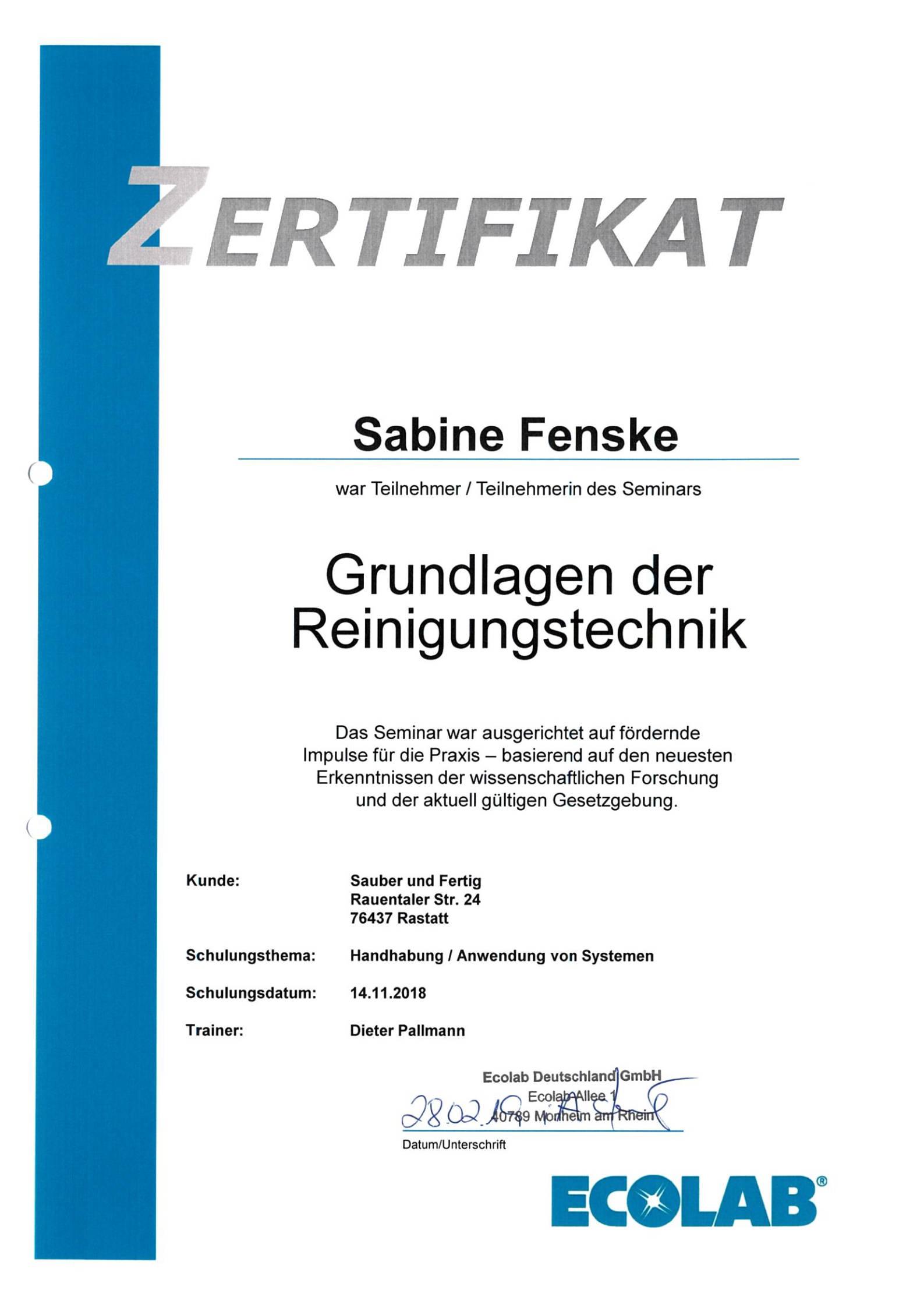 ecolab grundlagen zertifikat