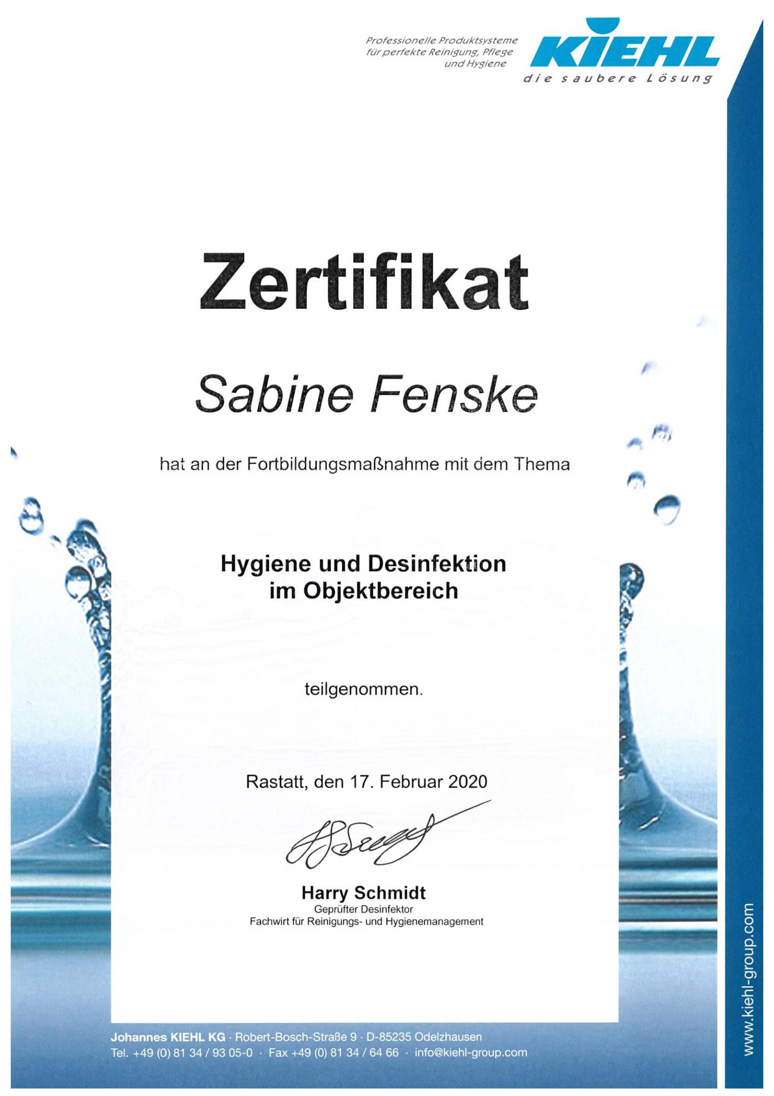 kiehl desinfektion zertifikat